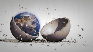 Erde in zerbrechender Schale
