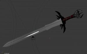 Mesh des 3D Schwertes - Blender mit Materialien