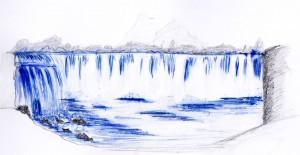 Landschaft mit Wasserfällen