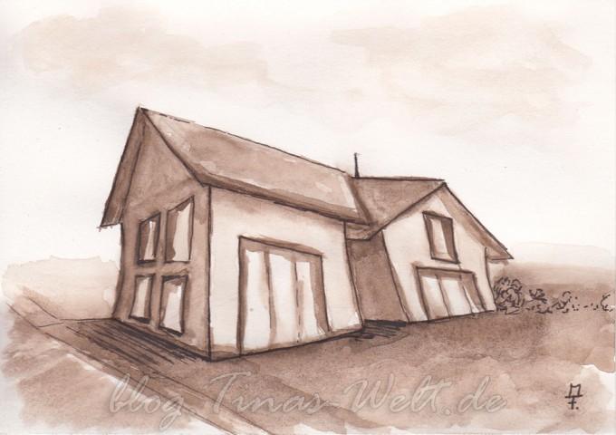 verzerrtes Haus in Aquarell