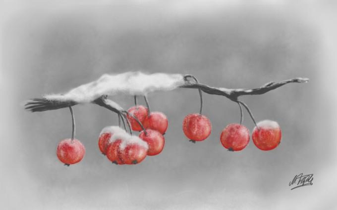 Digital-Art: Zieräpfel im Schnee