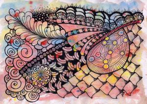 Doodle #31 mit Aquarell Hintergrund