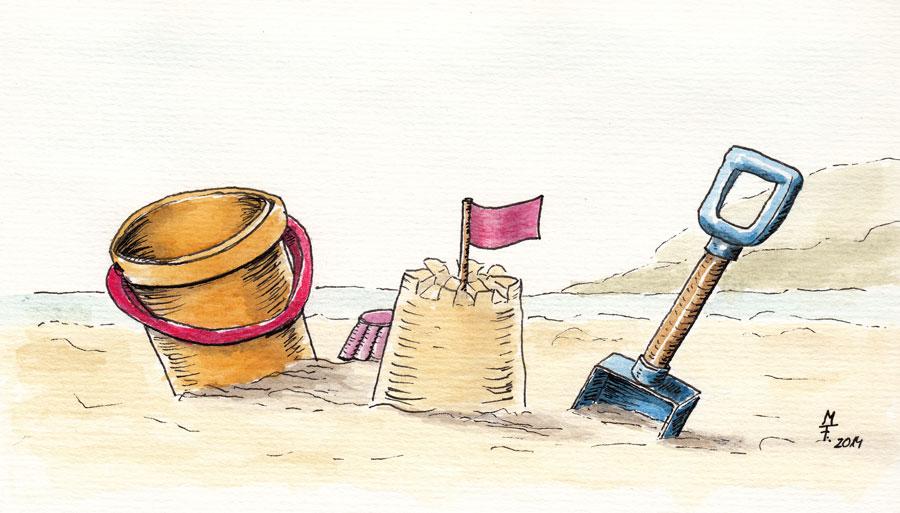 Sandburg malen  Strandspielzeug in Aquarell | blog.Tinas-Welt.de