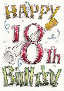Happy 18th Birthday Karte