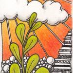 Doodle Lesezeichen-Sonnenuntergang