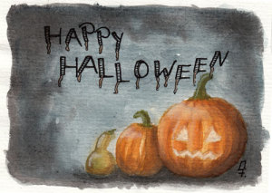 Happy Halloween - Kürbisse in Aquarell