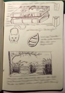 verschiedene Kugelschreiber Sketche / Kritzeleien aus meinem Skizzenbuch