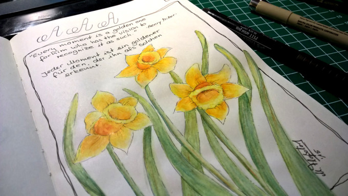 Goldener-Moment - Narzissen im Sketchbook