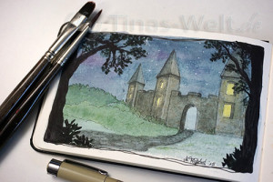 Aquarell Burg