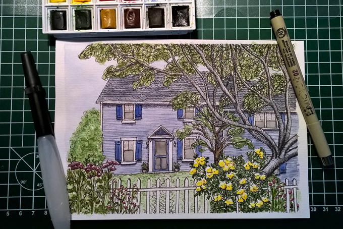 Blumen Haus Aquarell