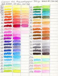 Farbkarte Canson XXL Aquarellpapier