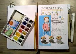 Skizzenbuch: Dezember Tusche-Test