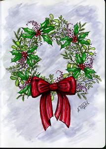 Weihnachtskranz-koloriert mit Hintergrund