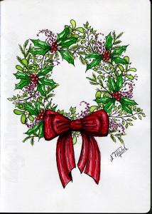 Weihnachtskranz-koloriert