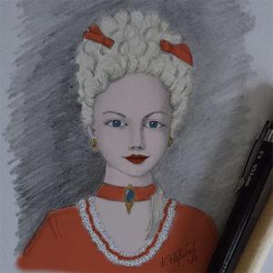 Colorierte Porträt-Skizze im Marie Antoinette Stil