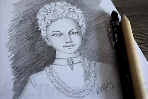 Skizze nach Marie Antoinette Stil