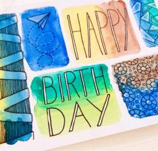 Aquarell + Muster Geburtstagskarte