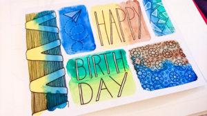 Aquarell Muster Geburtstagskarte