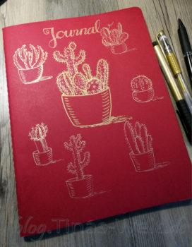 Skizzenbuch-Cover Kakteen in Gold