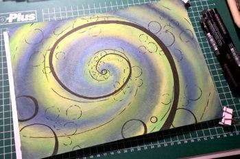 Aquarell-Spirale schwarze Spirale