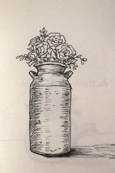 Quick Sketch #10 - Alte Milchkanne mit Blumen