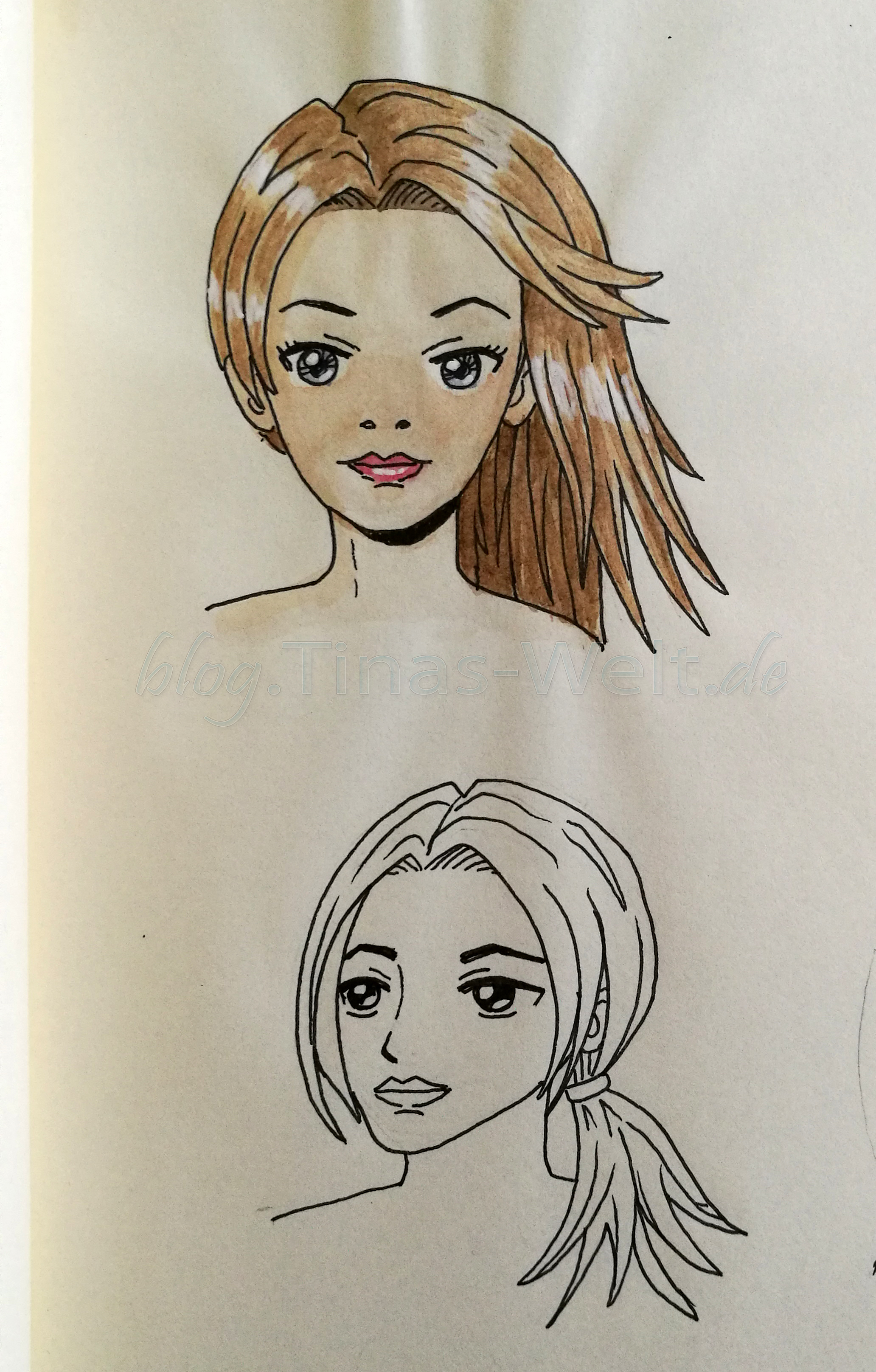 15 Quick And Cute Hairstyles For University Girls: Zwei Portraits Im Manga Stil