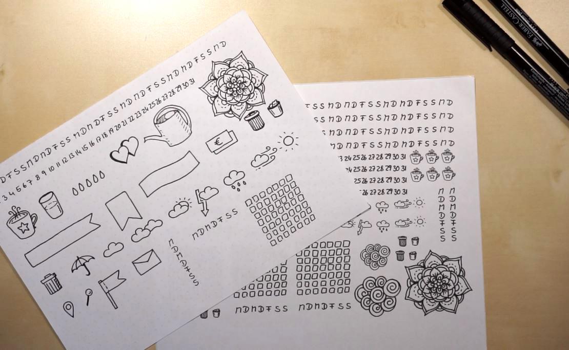 bullet journal sticker selber machen diy. Black Bedroom Furniture Sets. Home Design Ideas