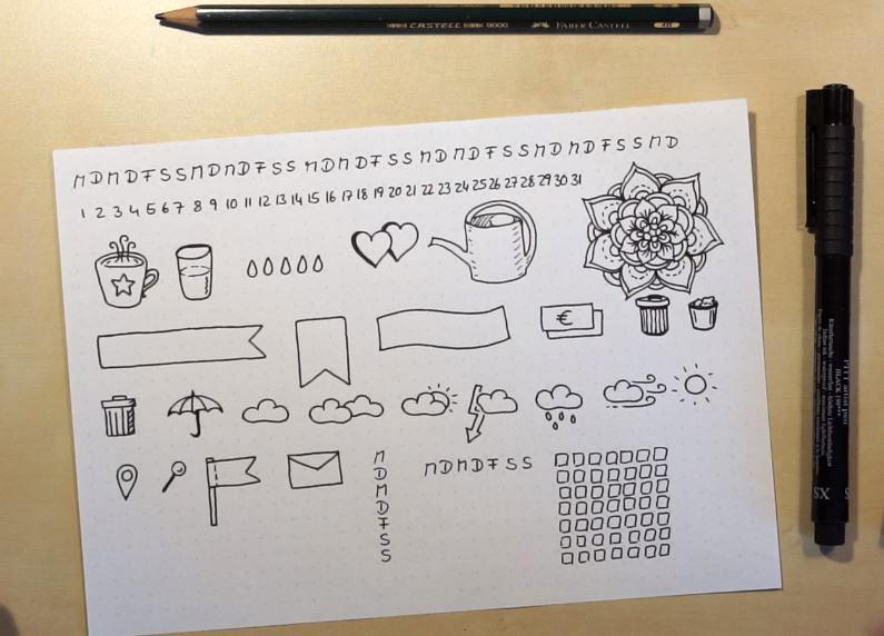 bullet journal sticker selber machen diy blog tinas. Black Bedroom Furniture Sets. Home Design Ideas