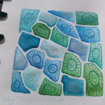 Muster Petoskey Aquarell mit Glitzer Stiften