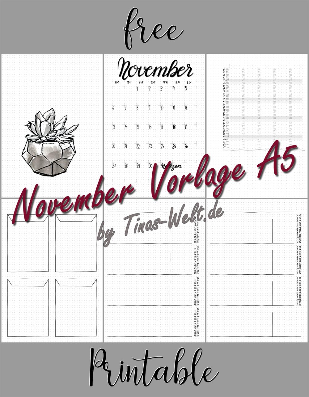 Bullet Journal November Vorlage printable | blog.Tinas-Welt.de