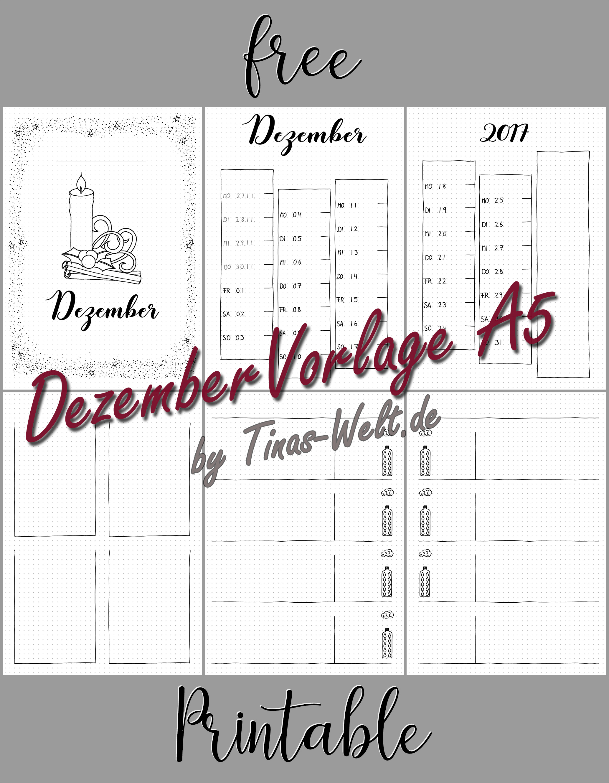 Bullet Journal Dezember Vorlage printable | blog.Tinas-Welt.de