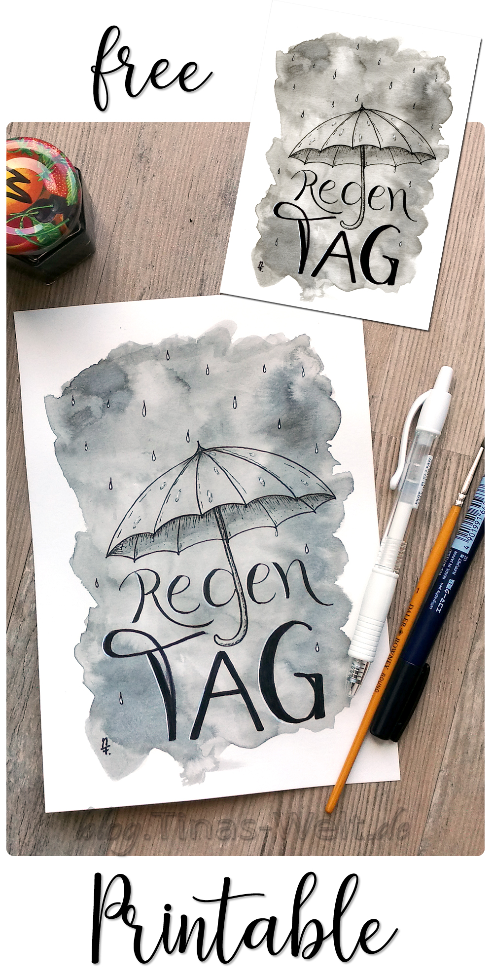 Inktober 2017 - Tag 31 - Regentag Handlettering