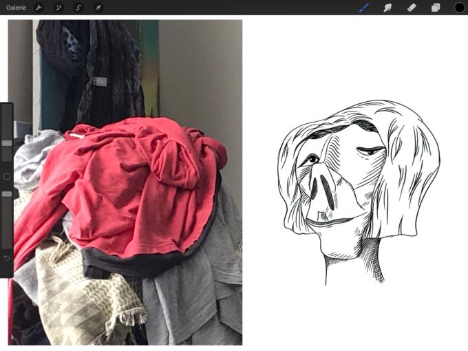 Vergleich Foto und fertige Zeichnung